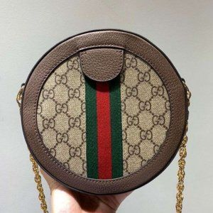 Gucci Ophidia Round Shoulder Bag GG Coated Canvas